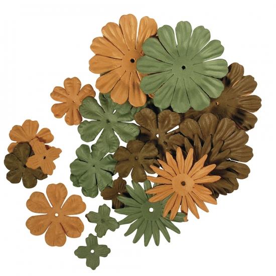 Gemengde groene en bruine hobby bloemen van papier