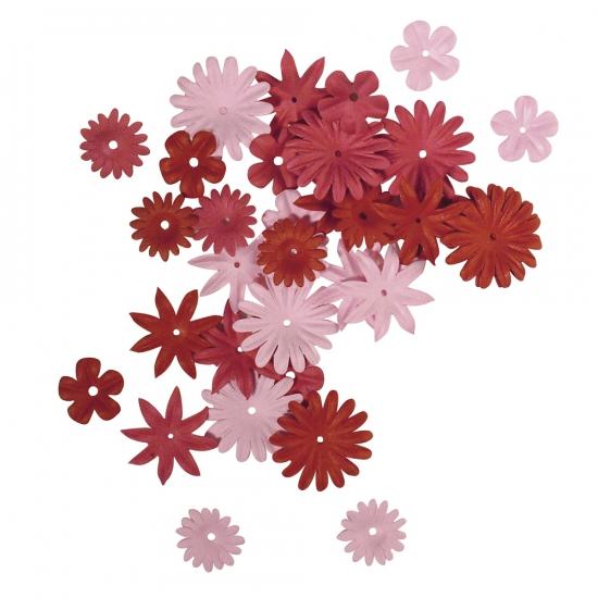 Gemengde rode en roze hobby bloemen van papier 36 stuks