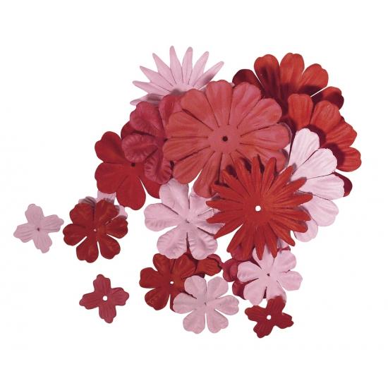 Gemengde rode en roze hobby bloemen van papier