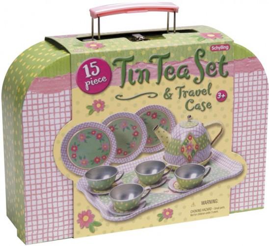 Geruite kinder theeset 15 stuks met koffer
