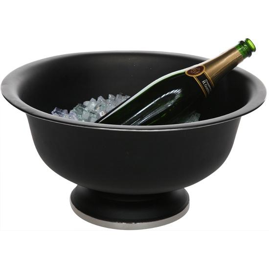 Grote zwarte champagne emmer op voet