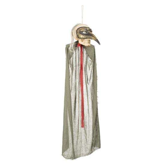 Halloween Hangdecoratie skelet met snavelmasker 125 cm