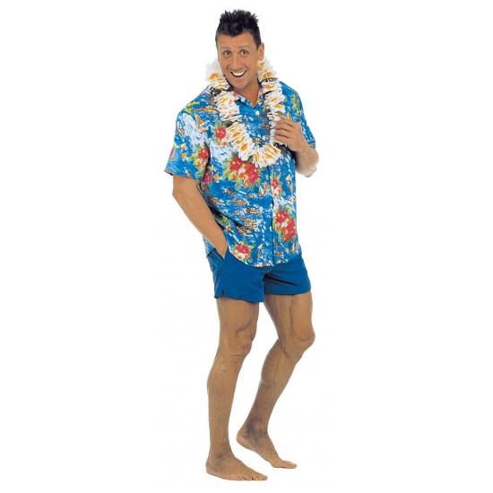 Hawaii blouse blauw met bloemen