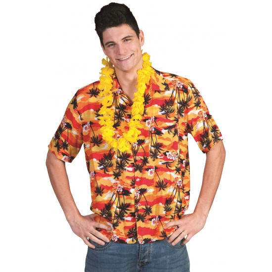 Hawaii verkleed blouse rood oranje