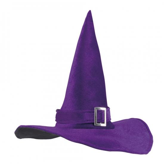 Heksenhoed fluweel paars met gesp