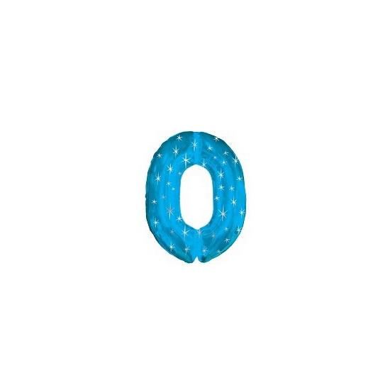 Helium ballon blauw met sparkle nummer 0