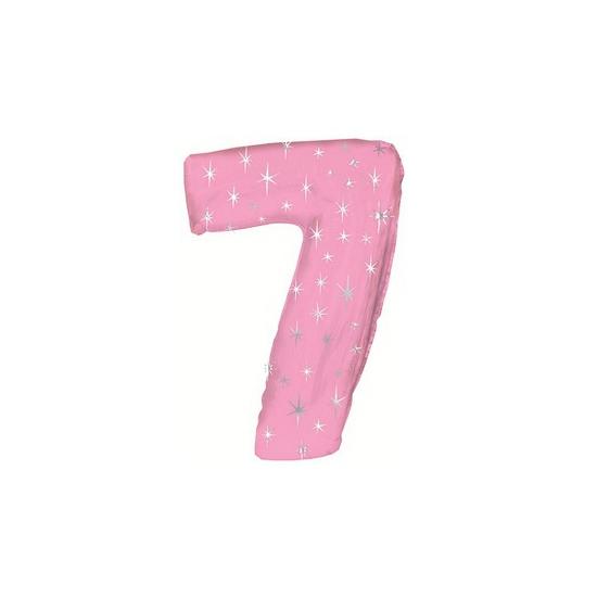 Helium ballon roze met sparkle nummer 7
