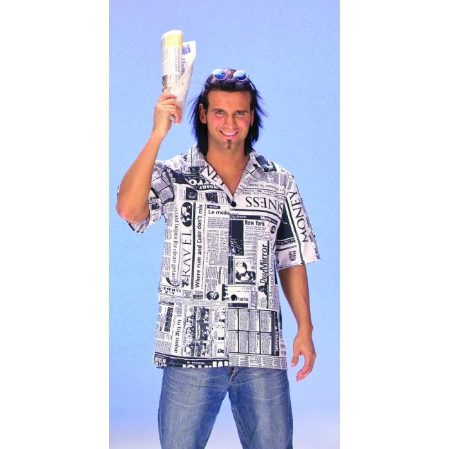 Heren Overhemd Zwart.Heren Overhemd Met Zwart Wit Kranten Print