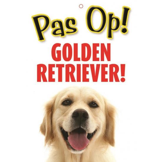 Honden waakbord pas op Golden Retriever 21 x 15 cm