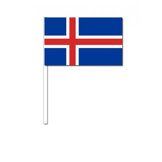 IJsland zwaai vlaggetjes 12 x 24 cm