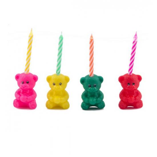 Kaarsen in de vorm van een beertje 4 stuks