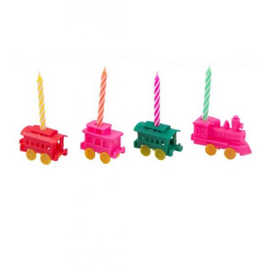 Kaarsen in de vorm van een treintje 4 stuks