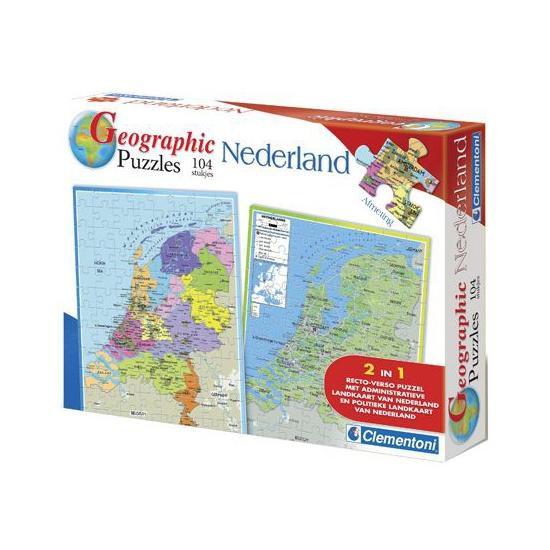 Kaart van Nederland puzzel 104 stukjes