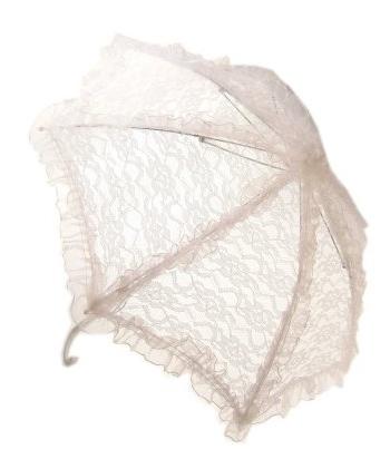 Kanten paraplu wit 70 cm