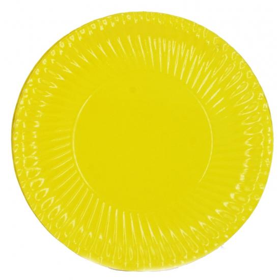 Kartonnen bordjes geel 10 stuks