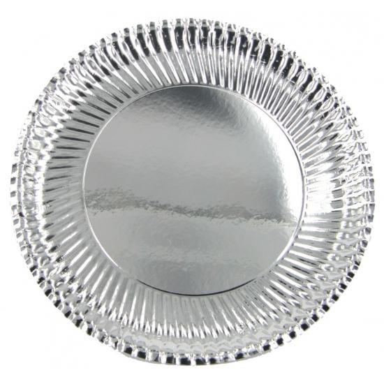 Kartonnen bordjes metallic zilver 10 stuks