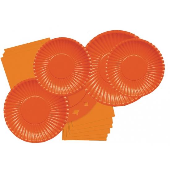 Kartonnen bordjes oranje 10 stuks