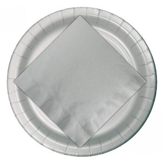 Kartonnen bordjes zilver 23 cm