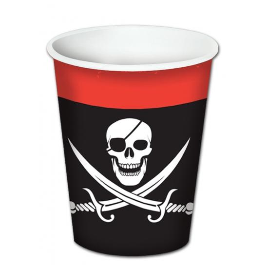 Kartonnen piraat bekers 8 stuks
