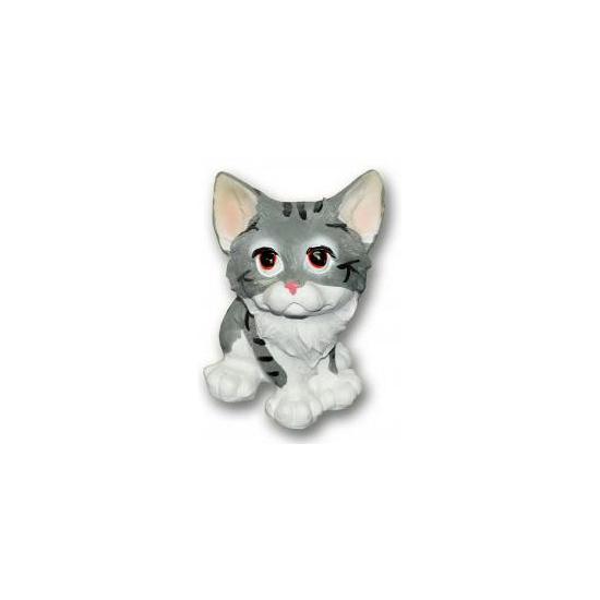 Katten beeldjes zittende kat met kitten grijs