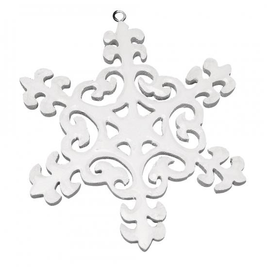 Kerst deco sneeuwvlok van hout 10 cm