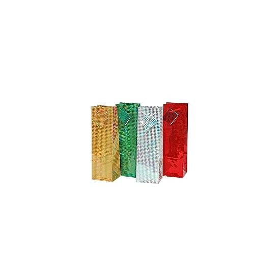 Kerst flessen kado tasjes 33 x 10 cm