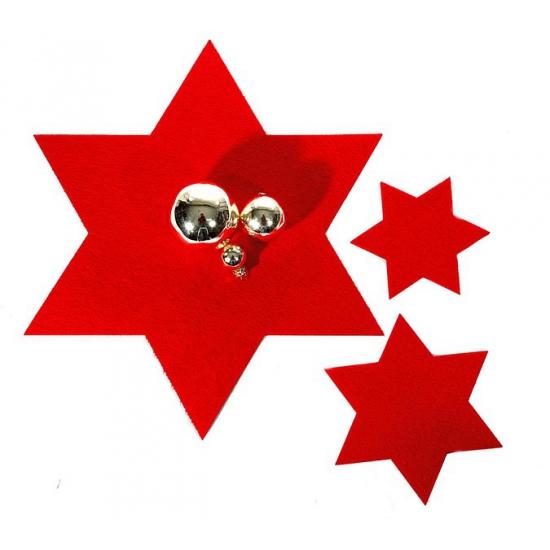 Kerst onderzetter rode ster 6 stuks