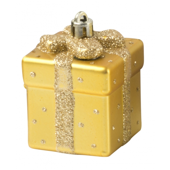 Kerstbal cadeautje 9 cm goud