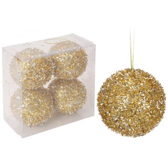 Kerstballen goud met glitters 4 stuks