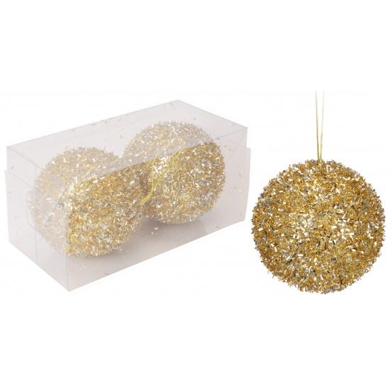 Kerstballen goud met glitters 8 cm