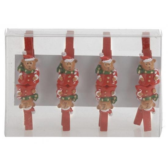 Kerstbeer houten knijpers 8 stuks