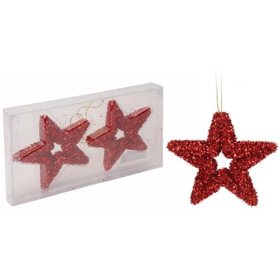 Kerstboom hangers rode ster met glitters 13 cm