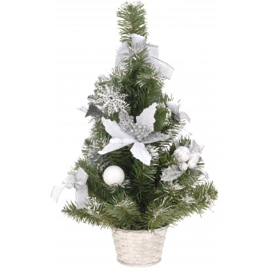 Kerstboom met zilveren versiering 50 cm