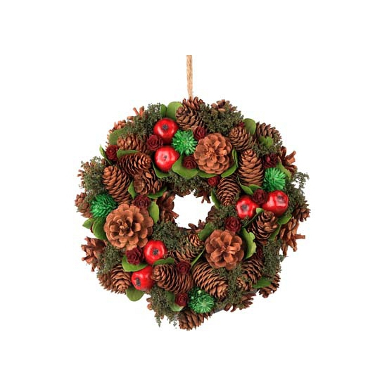 Kerstkrans natuur met dennen en spar appels 26 cm