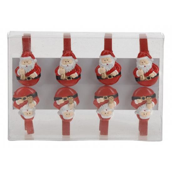 Kerstman houten knijpers 8 stuks