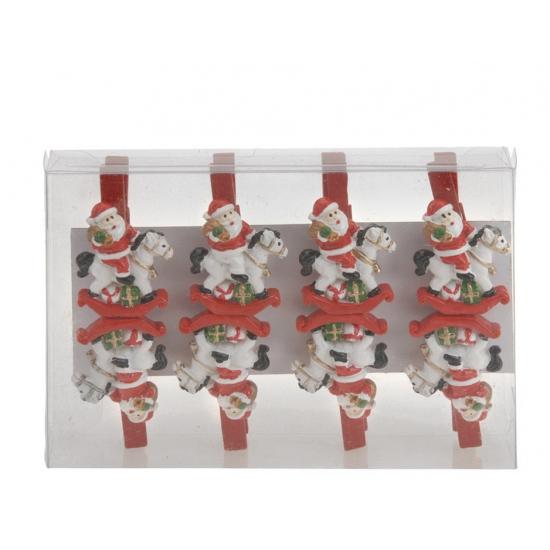 Kerstman op paard houten knijpers 8 stuks