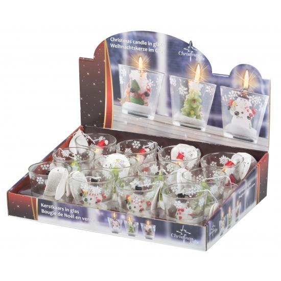 Kerstman thema kaarsje in glas 6 5 cm