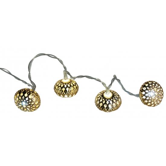 Kerstverlichting met metalen ballen goud