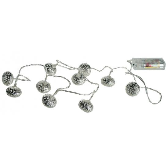 Kerstverlichting met metalen ballen zilver