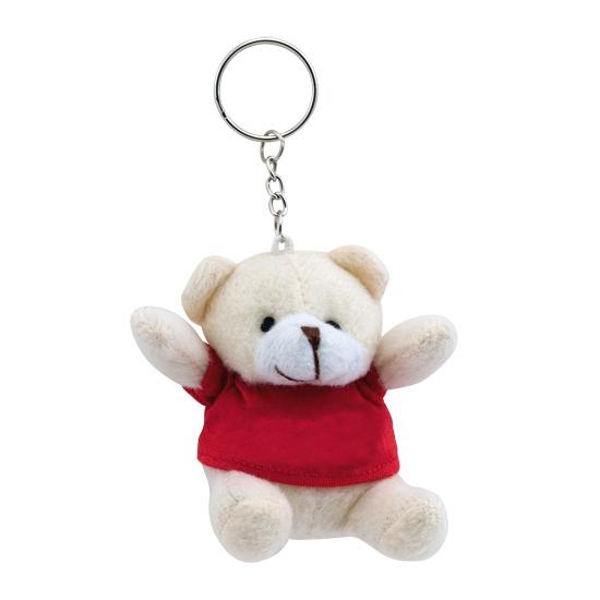 Knuffelbeer sleutelhanger rood