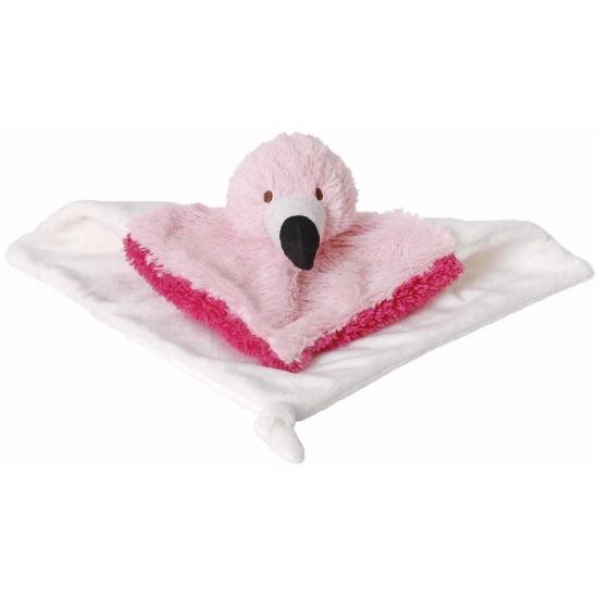Knuffeldoekje flamingo 24 cm