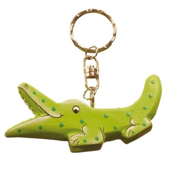 Krokodil sleutelhangertje van hout