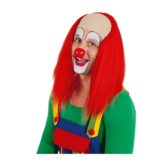 Lange clowns pruik met rood haar