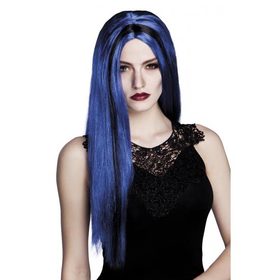 Lange heksenpruik blauw zwart stijl