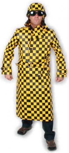 Lange jas geel en zwart geblokt