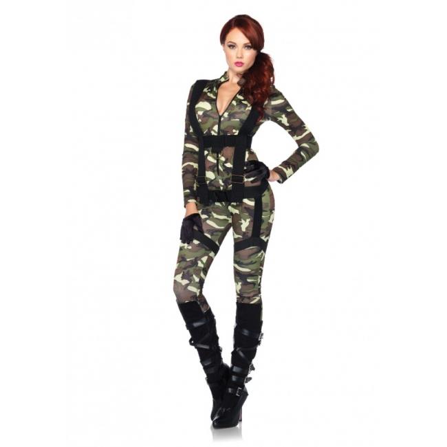 Legerprint bodysuit met harnas voor dames