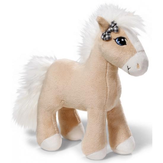 Licht bruin knuffel paard met strik bij oor 25 cm