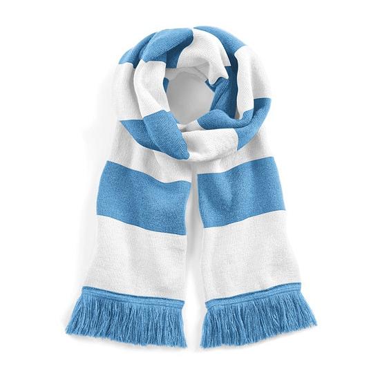 Lichtblauw met witte retro sjaal 182 cm