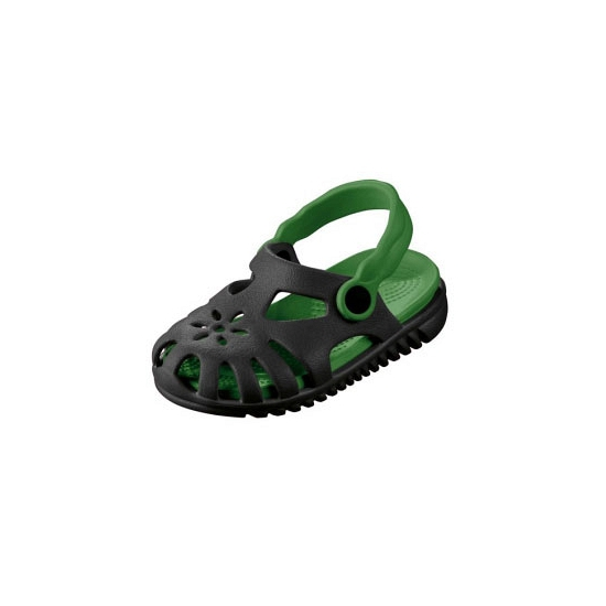 Lichtgewicht kinder water sandalen zwart met groen