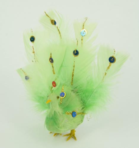 Lichtgroene decoratie pauw van 15 cm